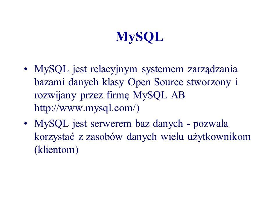 MySQL MySQL jest relacyjnym systemem zarządzania bazami danych klasy Open Source stworzony i rozwijany przez firmę MySQL AB http://www.mysql.com/)