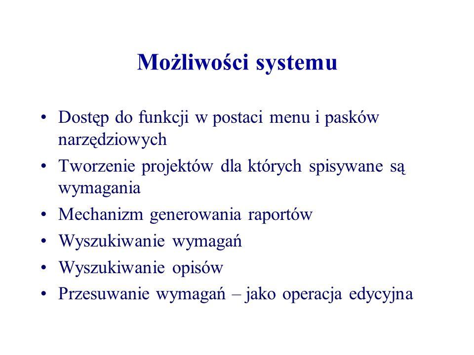 Możliwości systemu Dostęp do funkcji w postaci menu i pasków narzędziowych. Tworzenie projektów dla których spisywane są wymagania.