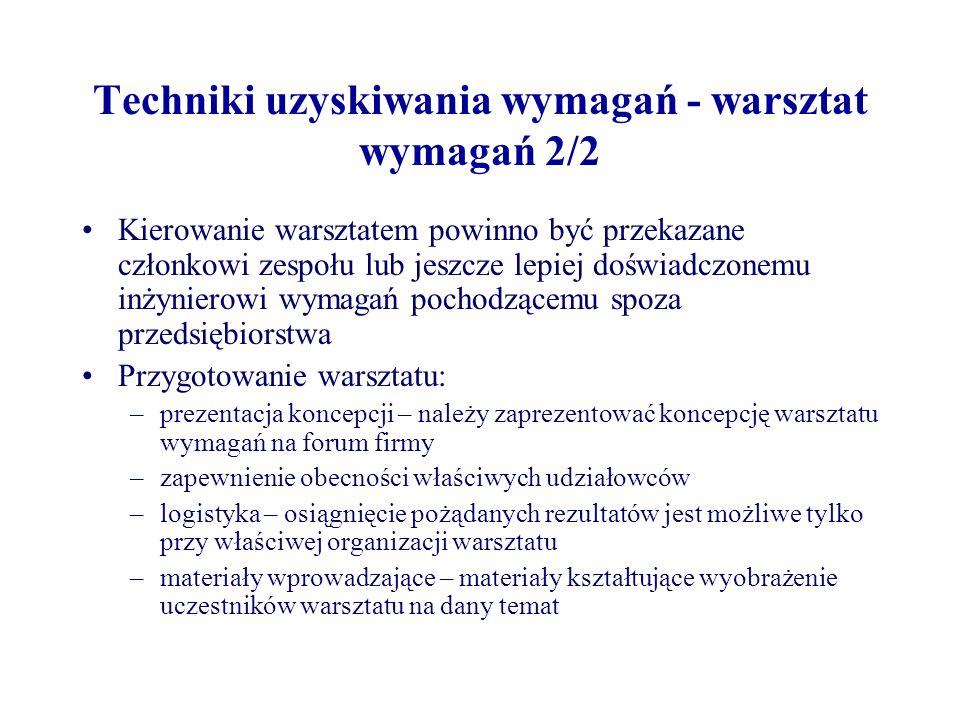 Techniki uzyskiwania wymagań - warsztat wymagań 2/2
