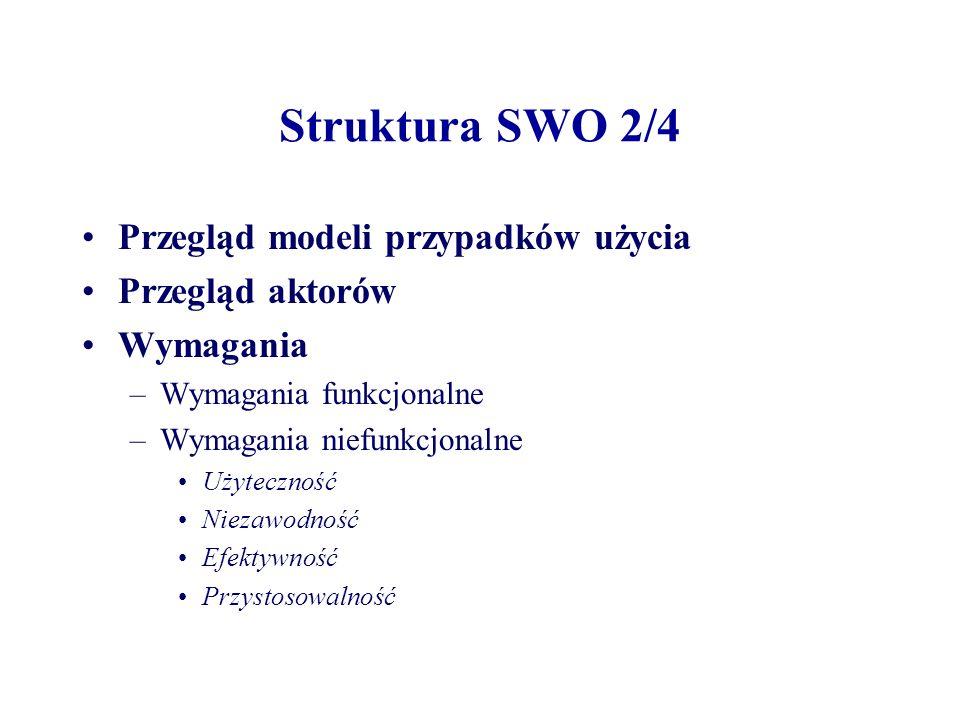 Struktura SWO 2/4 Przegląd modeli przypadków użycia Przegląd aktorów