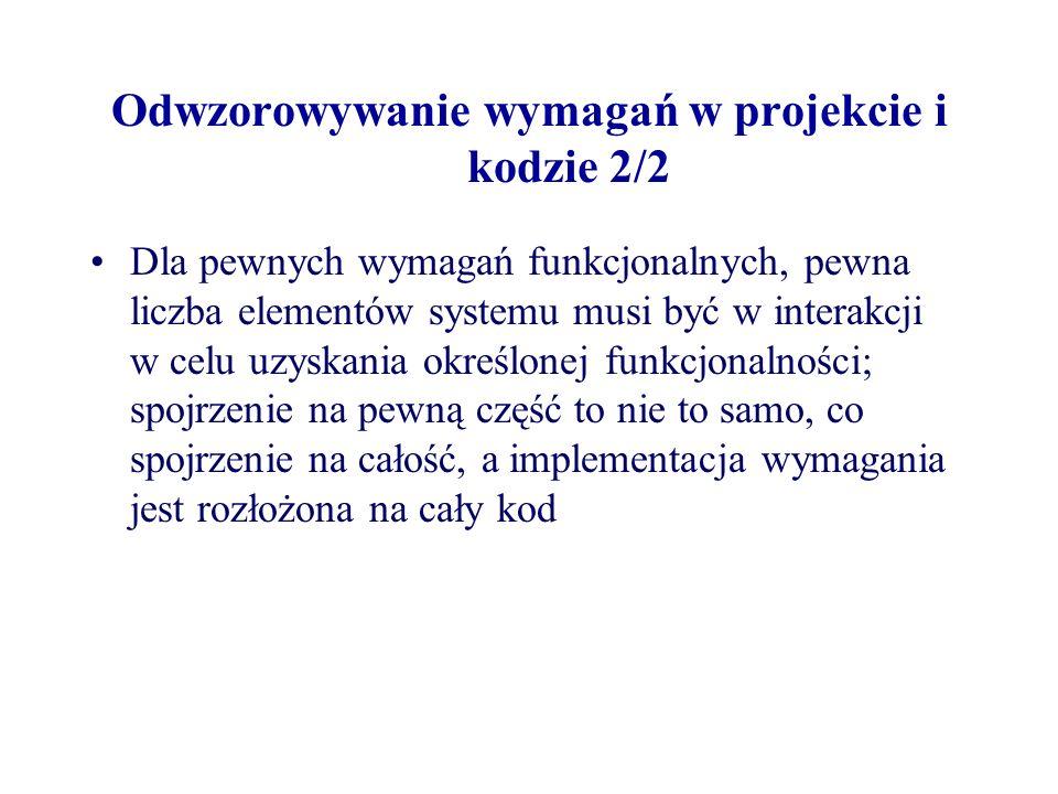 Odwzorowywanie wymagań w projekcie i kodzie 2/2