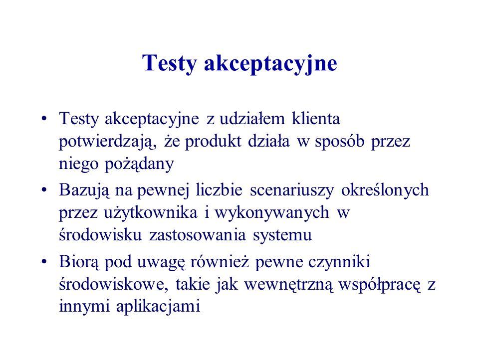 Testy akceptacyjne Testy akceptacyjne z udziałem klienta potwierdzają, że produkt działa w sposób przez niego pożądany.