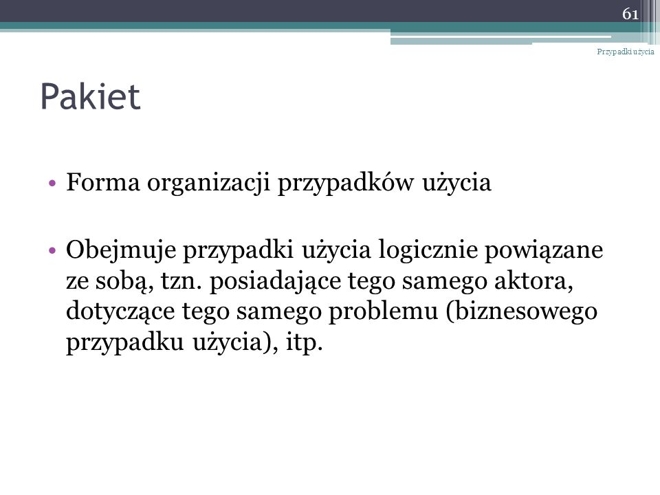 Pakiet Forma organizacji przypadków użycia