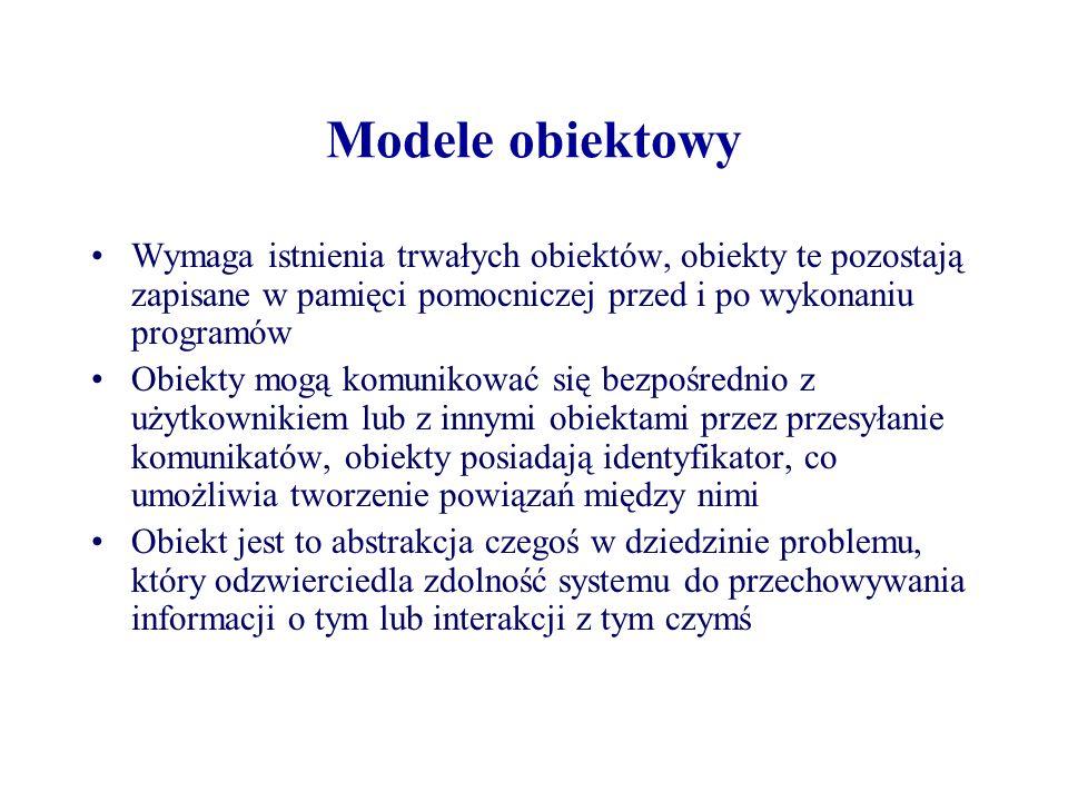 Modele obiektowy Wymaga istnienia trwałych obiektów, obiekty te pozostają zapisane w pamięci pomocniczej przed i po wykonaniu programów.