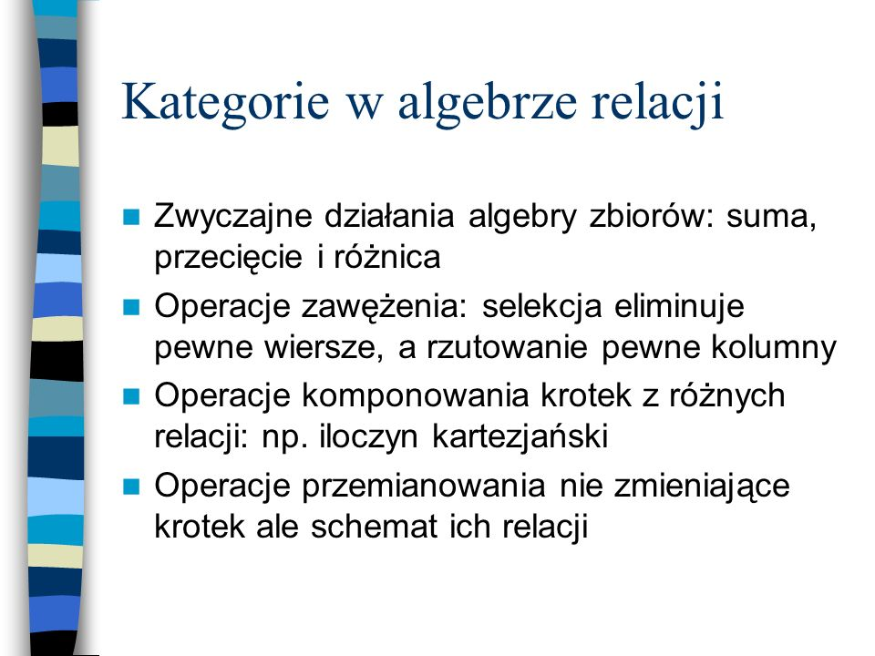 Kategorie w algebrze relacji
