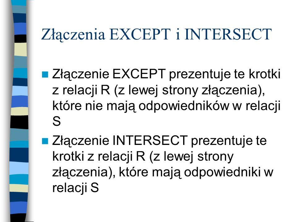 Złączenia EXCEPT i INTERSECT