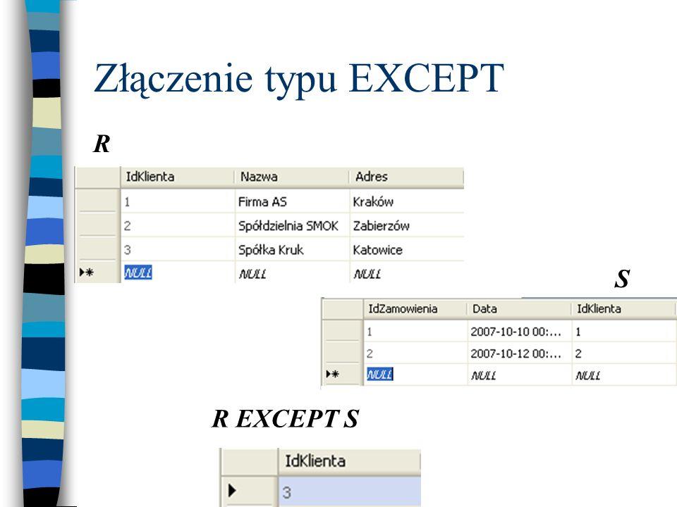 Złączenie typu EXCEPT R S R EXCEPT S