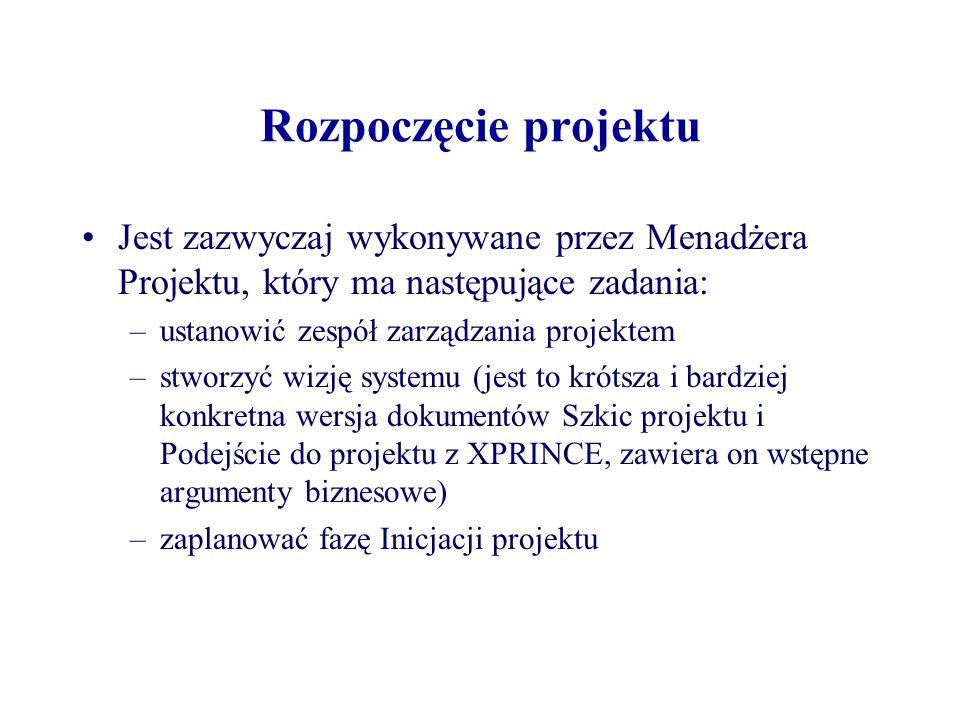 Rozpoczęcie projektu Jest zazwyczaj wykonywane przez Menadżera Projektu, który ma następujące zadania: