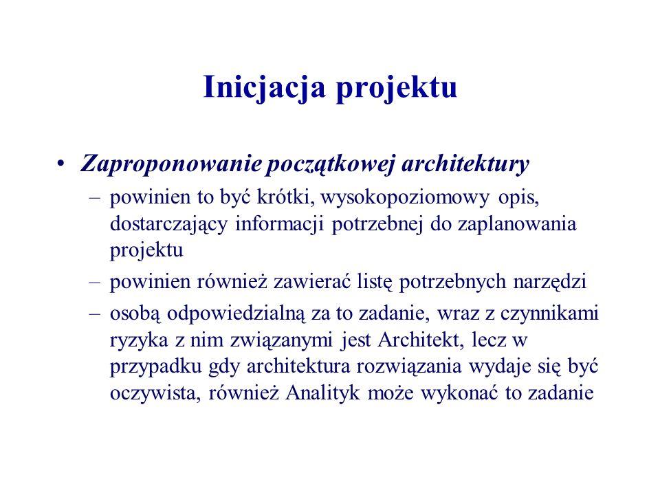 Inicjacja projektu Zaproponowanie początkowej architektury