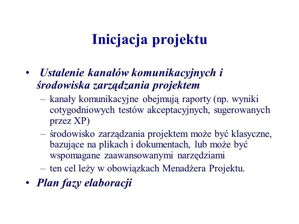 Inicjacja projektu Ustalenie kanałów komunikacyjnych i środowiska zarządzania projektem.