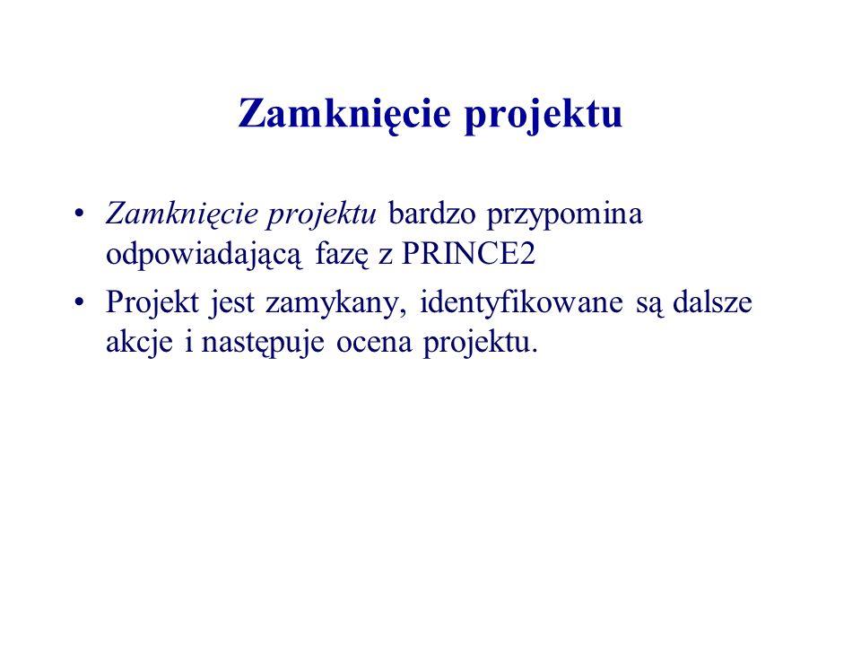 Zamknięcie projektu Zamknięcie projektu bardzo przypomina odpowiadającą fazę z PRINCE2.