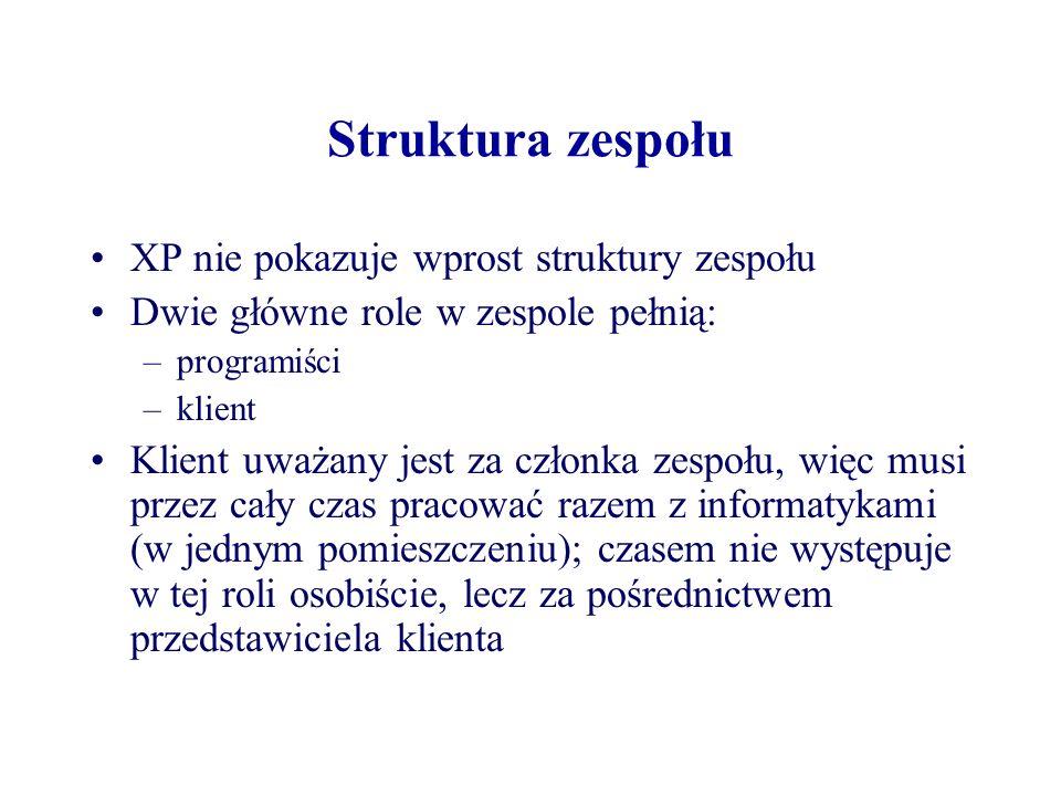 Struktura zespołu XP nie pokazuje wprost struktury zespołu