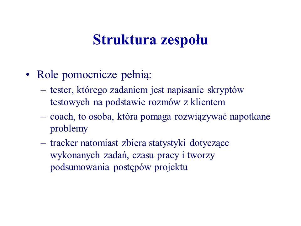 Struktura zespołu Role pomocnicze pełnią: