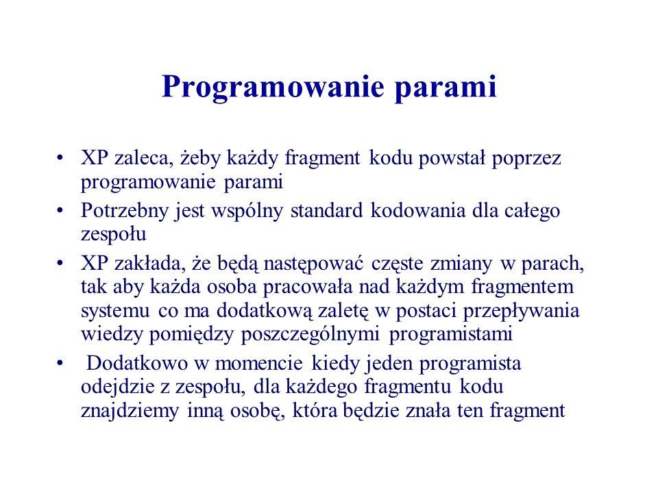 Programowanie parami XP zaleca, żeby każdy fragment kodu powstał poprzez programowanie parami.