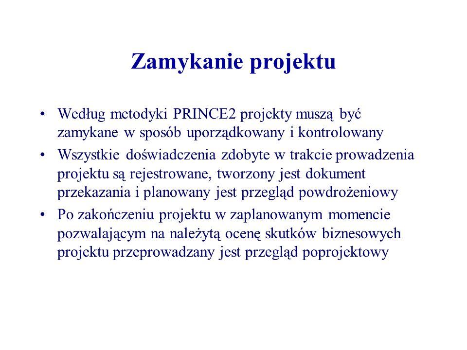 Zamykanie projektu Według metodyki PRINCE2 projekty muszą być zamykane w sposób uporządkowany i kontrolowany.