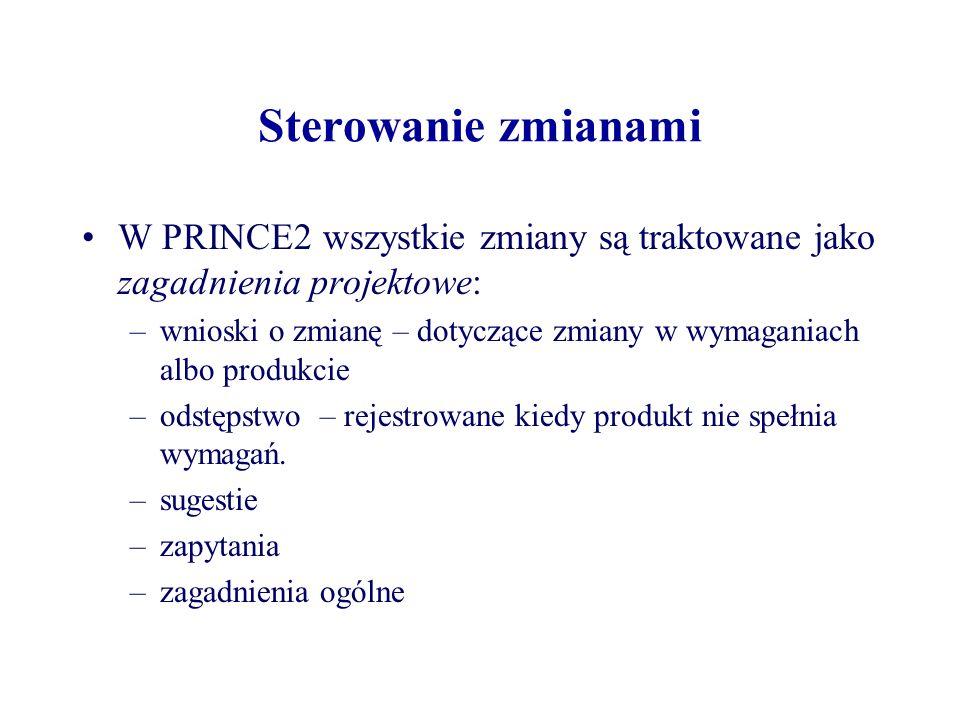 Sterowanie zmianami W PRINCE2 wszystkie zmiany są traktowane jako zagadnienia projektowe: