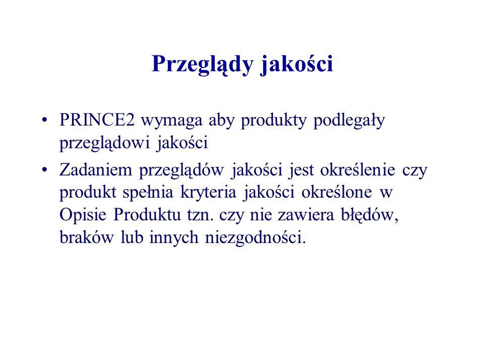 Przeglądy jakości PRINCE2 wymaga aby produkty podlegały przeglądowi jakości.