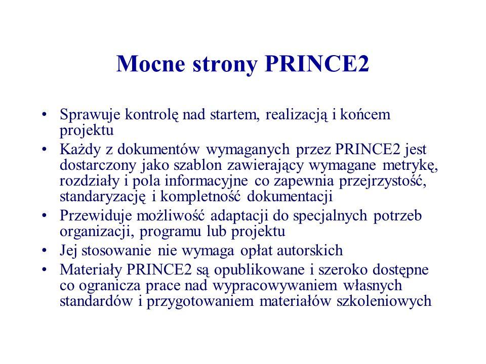 Mocne strony PRINCE2 Sprawuje kontrolę nad startem, realizacją i końcem projektu.