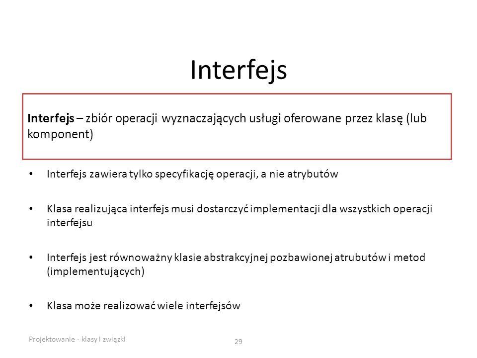 Interfejs Interfejs – zbiór operacji wyznaczających usługi oferowane przez klasę (lub komponent)
