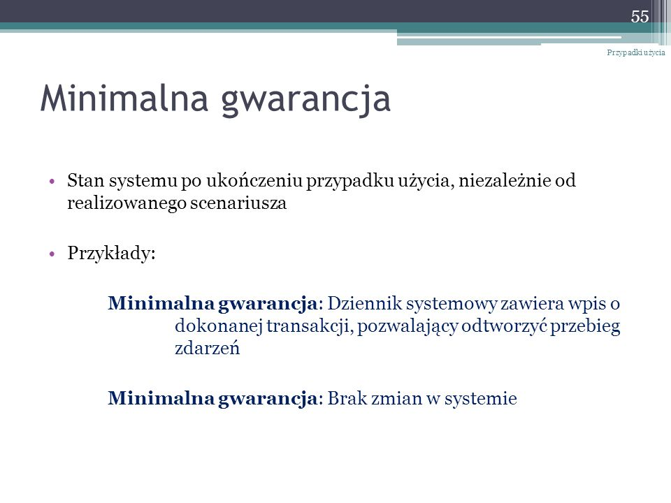 Przypadki użyciaMinimalna gwarancja. Stan systemu po ukończeniu przypadku użycia, niezależnie od realizowanego scenariusza.