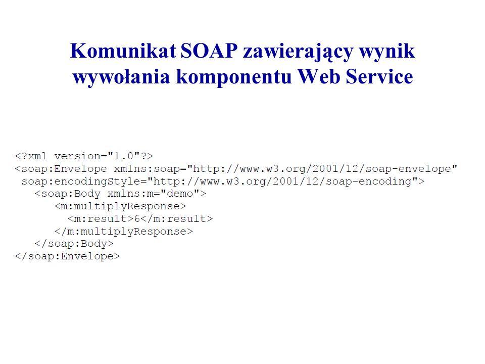 Komunikat SOAP zawierający wynik wywołania komponentu Web Service
