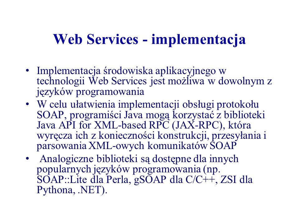 Web Services - implementacja