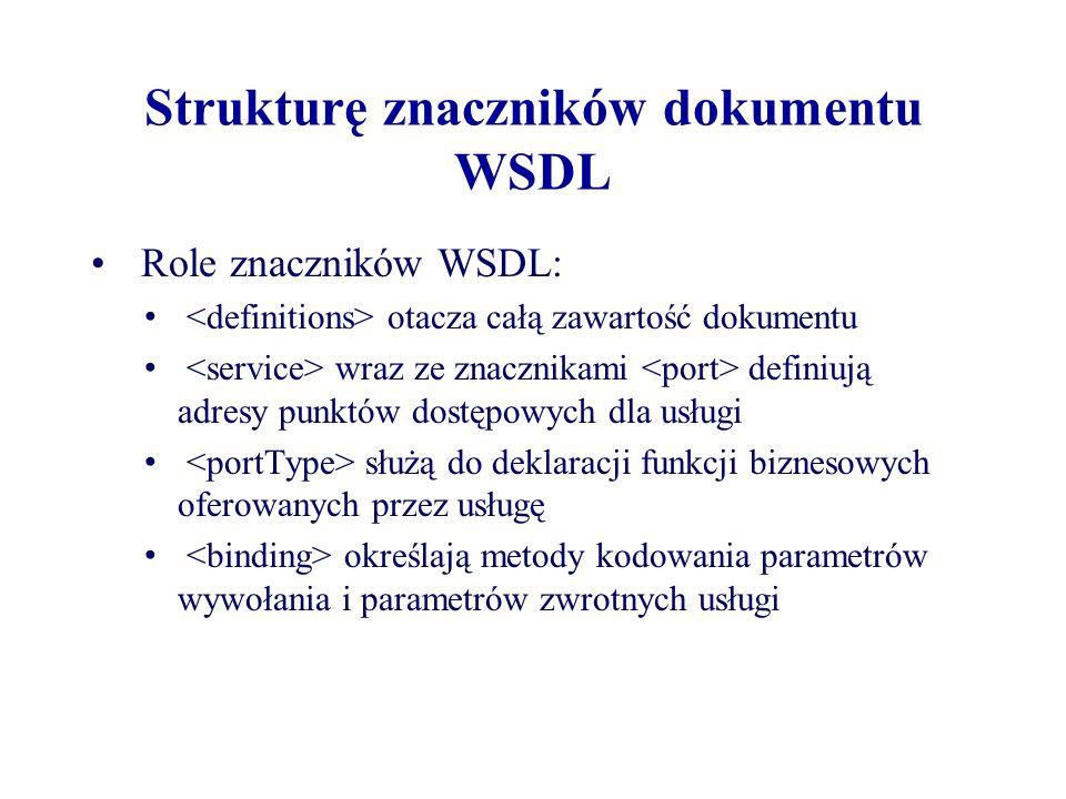 Strukturę znaczników dokumentu WSDL