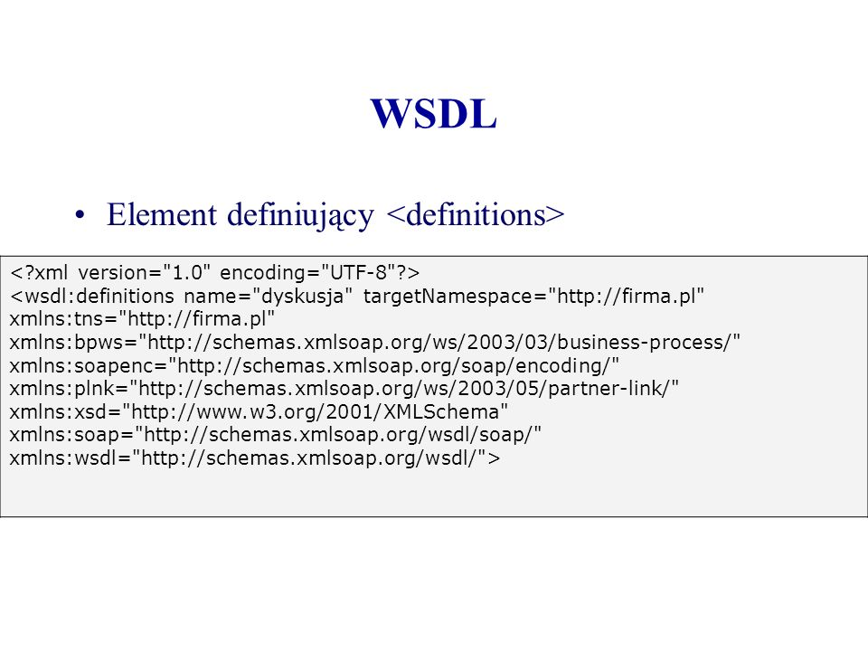 WSDL Element definiujący <definitions>