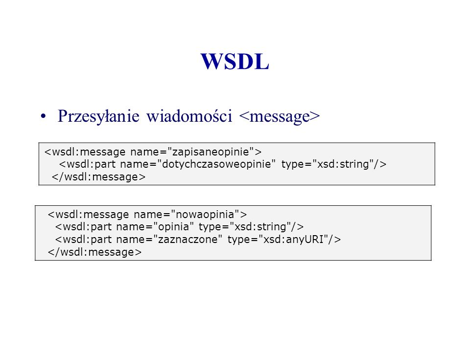 WSDL Przesyłanie wiadomości <message>