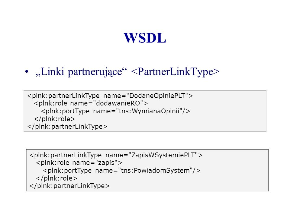 "WSDL ""Linki partnerujące <PartnerLinkType>"