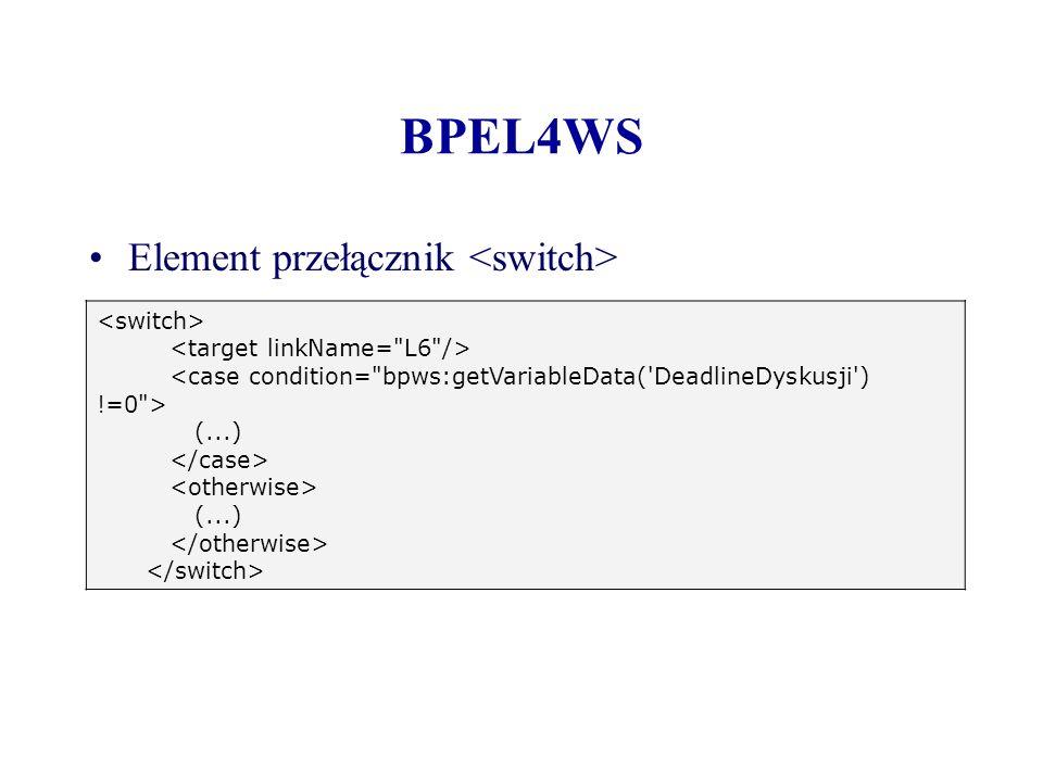 BPEL4WS Element przełącznik <switch> <switch>