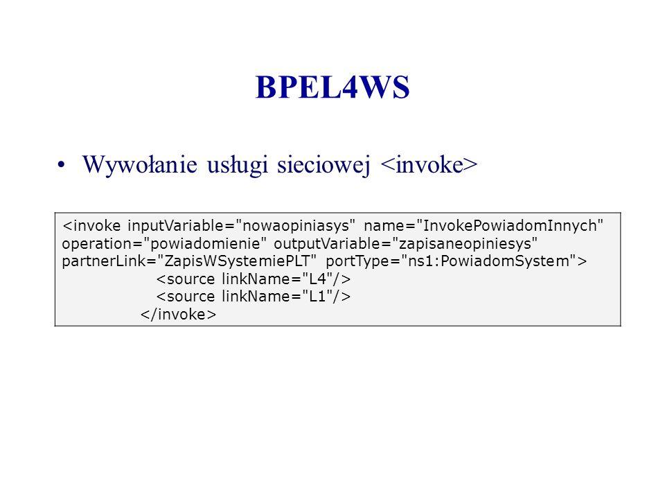 BPEL4WS Wywołanie usługi sieciowej <invoke>