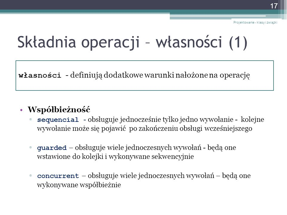 Składnia operacji – własności (1)