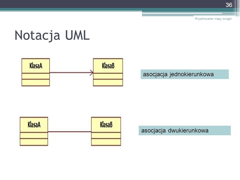 Notacja UML asocjacja jednokierunkowa asocjacja dwukierunkowa