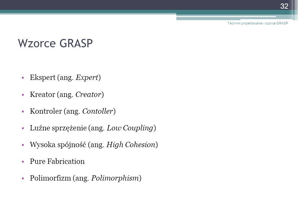 Wzorce GRASP Ekspert (ang. Expert) Kreator (ang. Creator)
