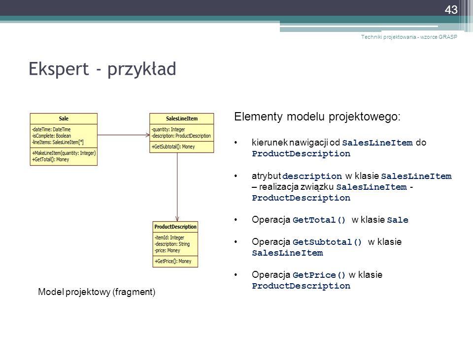 Ekspert - przykład Elementy modelu projektowego: