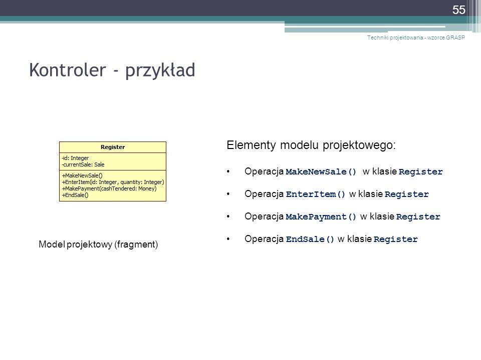 Kontroler - przykład Elementy modelu projektowego: