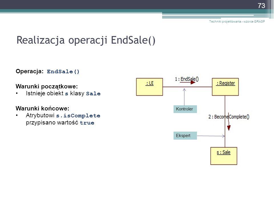 Realizacja operacji EndSale()