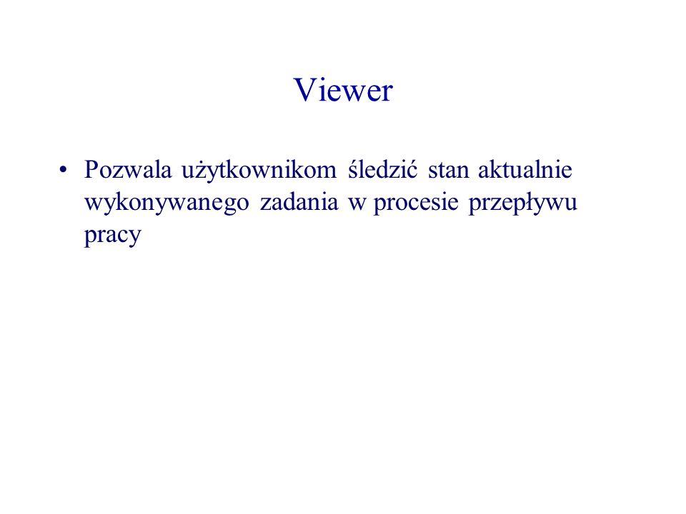 Viewer Pozwala użytkownikom śledzić stan aktualnie wykonywanego zadania w procesie przepływu pracy