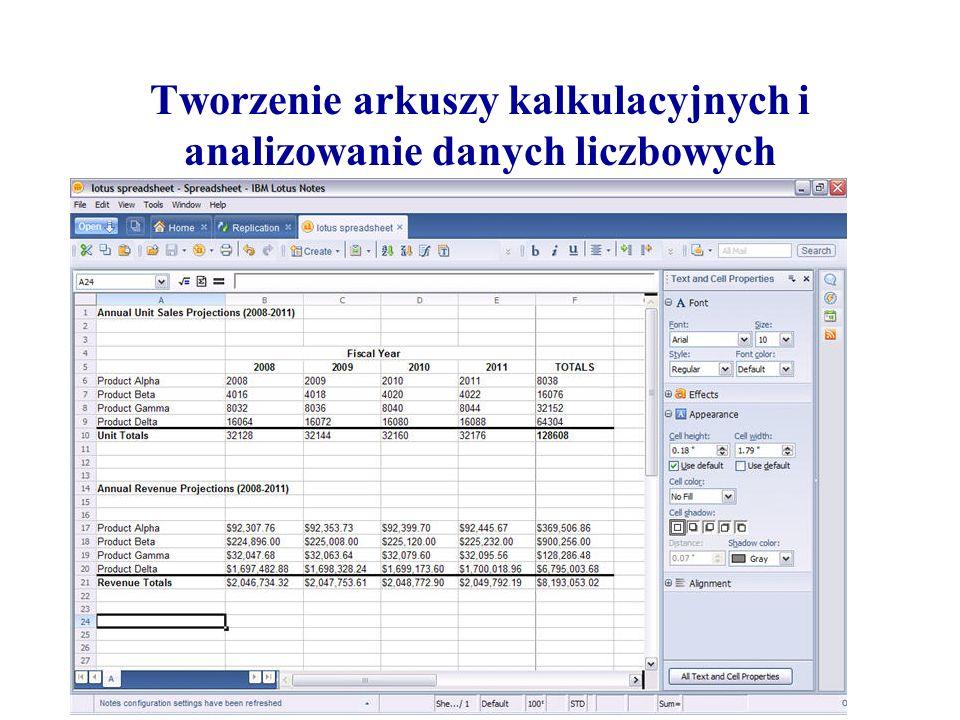 Tworzenie arkuszy kalkulacyjnych i analizowanie danych liczbowych