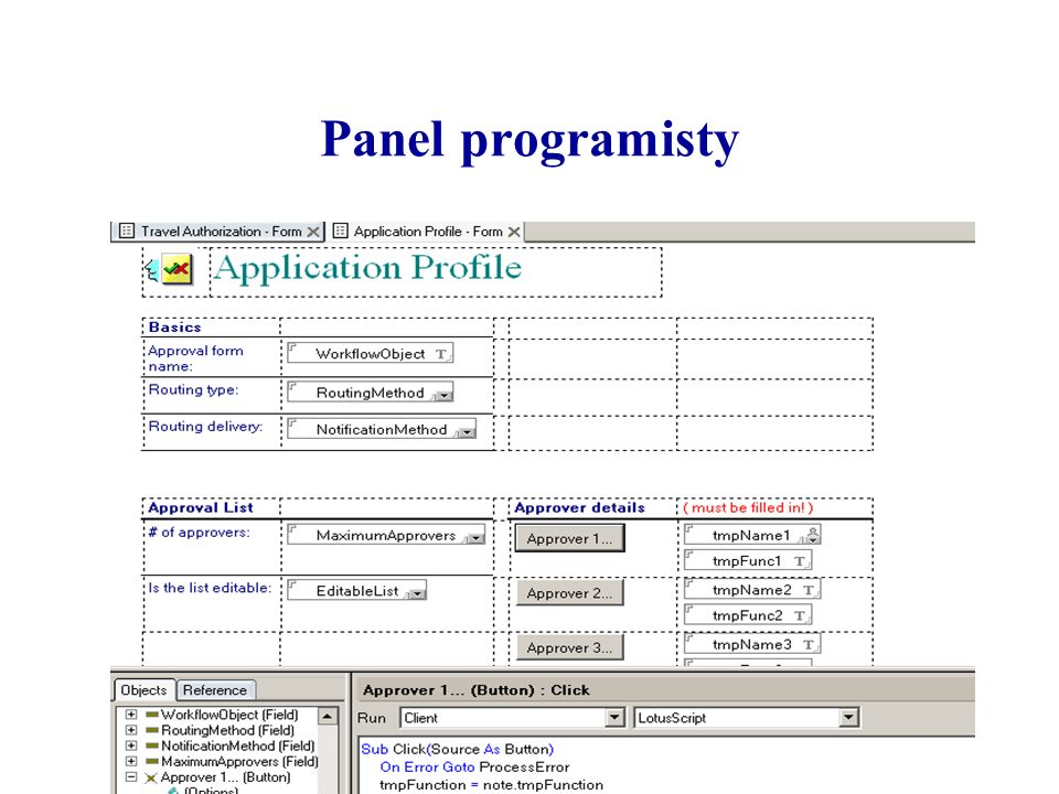 Panel programisty