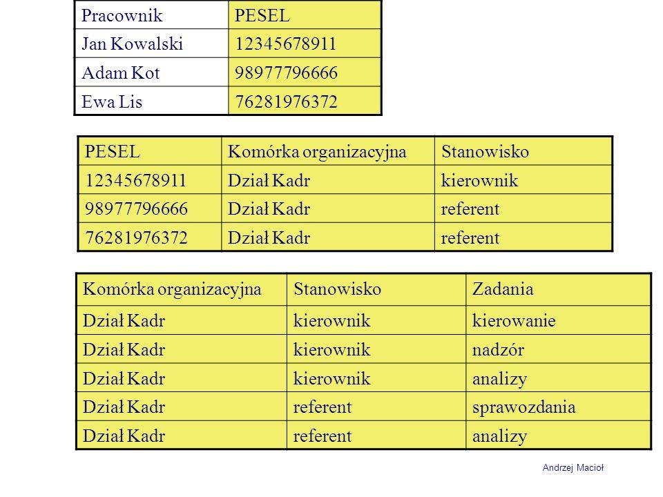 Pracownik PESEL. Jan Kowalski. 12345678911. Adam Kot. 98977796666. Ewa Lis. 76281976372. PESEL.
