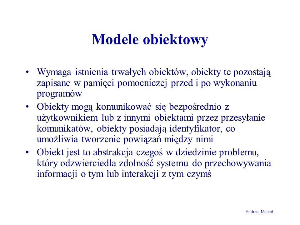 Modele obiektowyWymaga istnienia trwałych obiektów, obiekty te pozostają zapisane w pamięci pomocniczej przed i po wykonaniu programów.