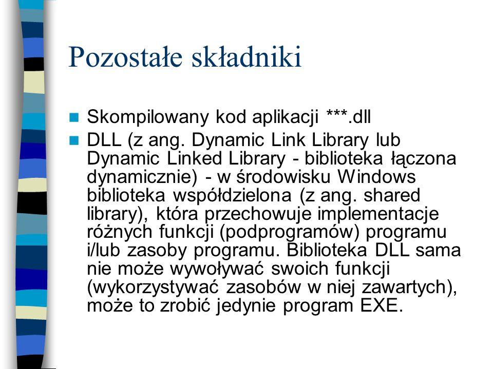 Pozostałe składniki Skompilowany kod aplikacji ***.dll