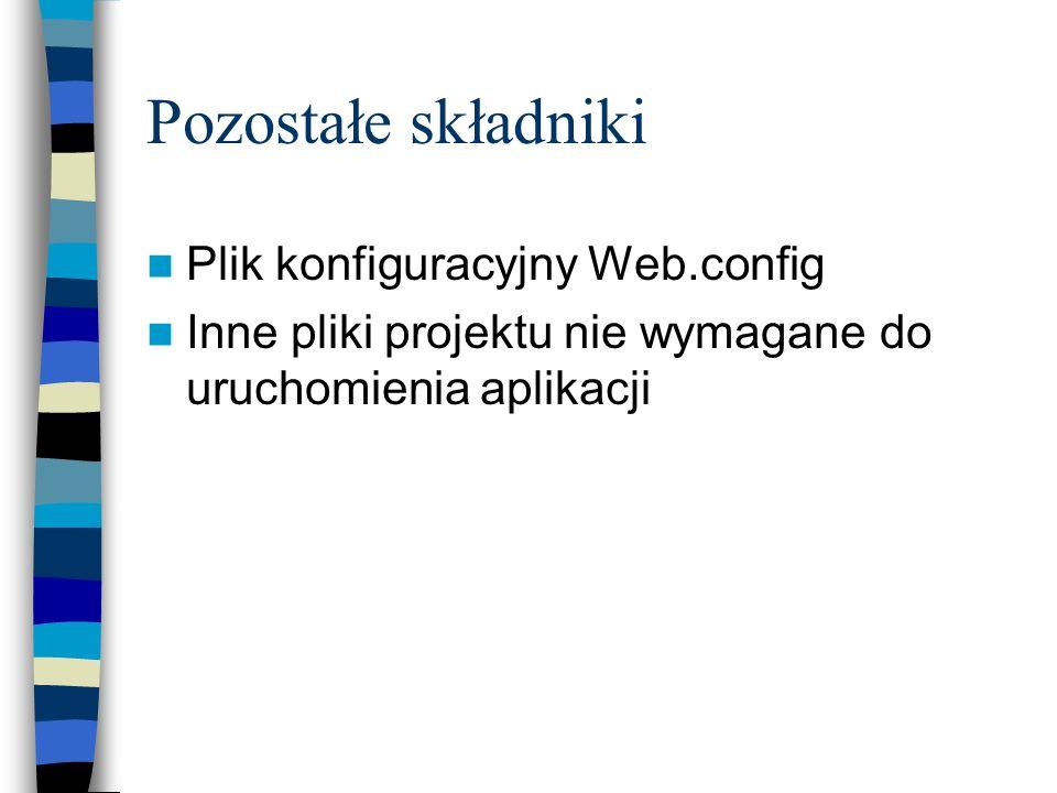 Pozostałe składniki Plik konfiguracyjny Web.config