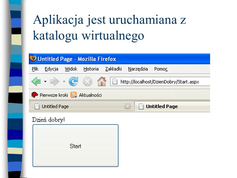 Aplikacja jest uruchamiana z katalogu wirtualnego