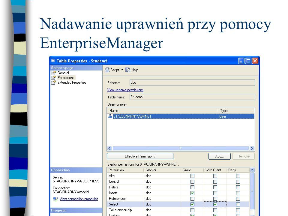 Nadawanie uprawnień przy pomocy EnterpriseManager