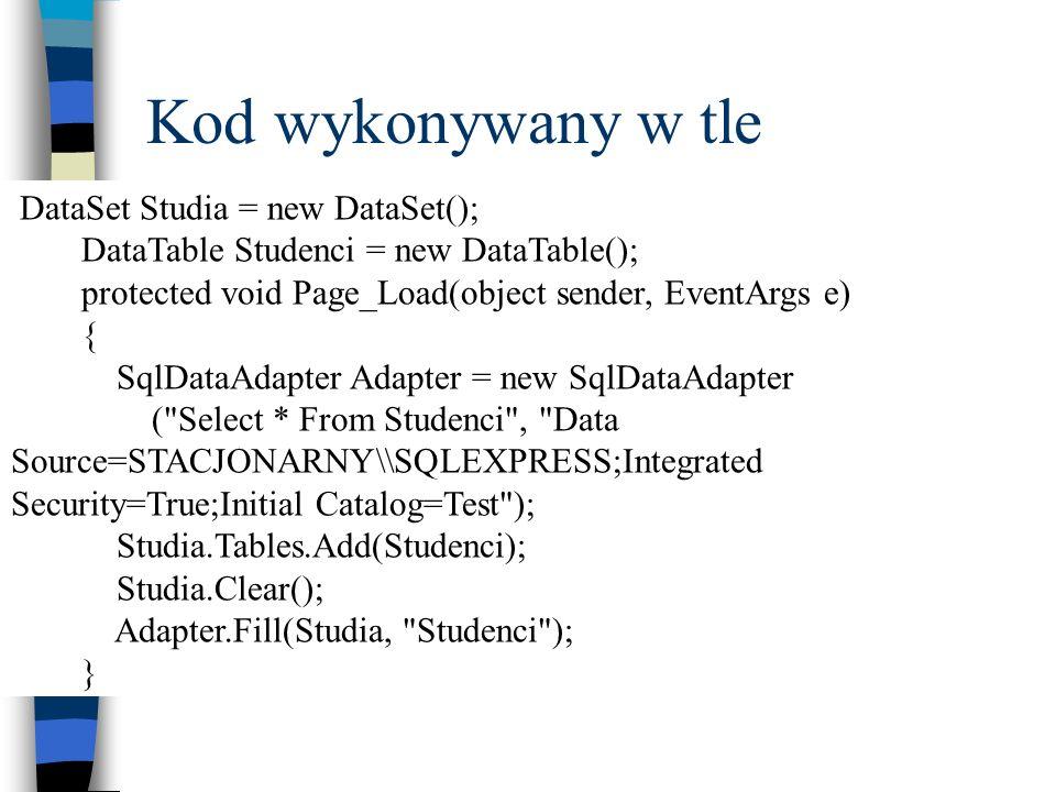 Kod wykonywany w tle DataSet Studia = new DataSet();