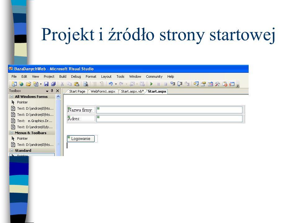 Projekt i źródło strony startowej