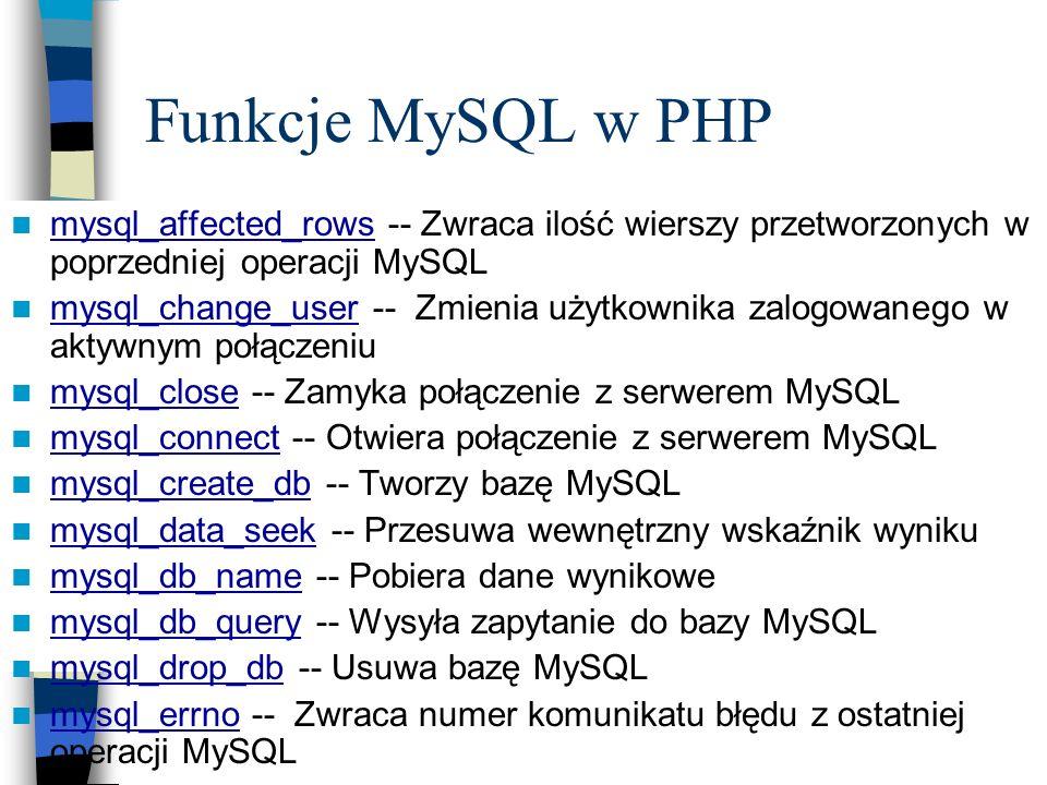 Funkcje MySQL w PHP mysql_affected_rows -- Zwraca ilość wierszy przetworzonych w poprzedniej operacji MySQL.